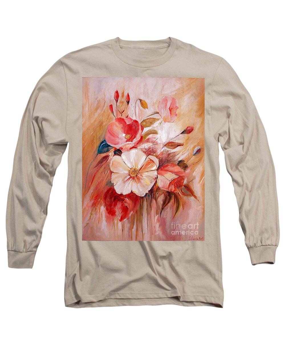Modern Art Long Sleeve T-Shirt featuring the painting Flowers I by Silvana Abel