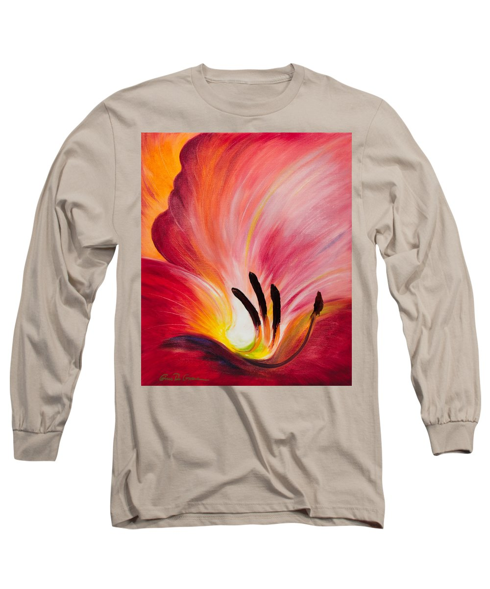 Red Long Sleeve T-Shirt featuring the painting From The Heart Of A Flower Red I by Gina De Gorna