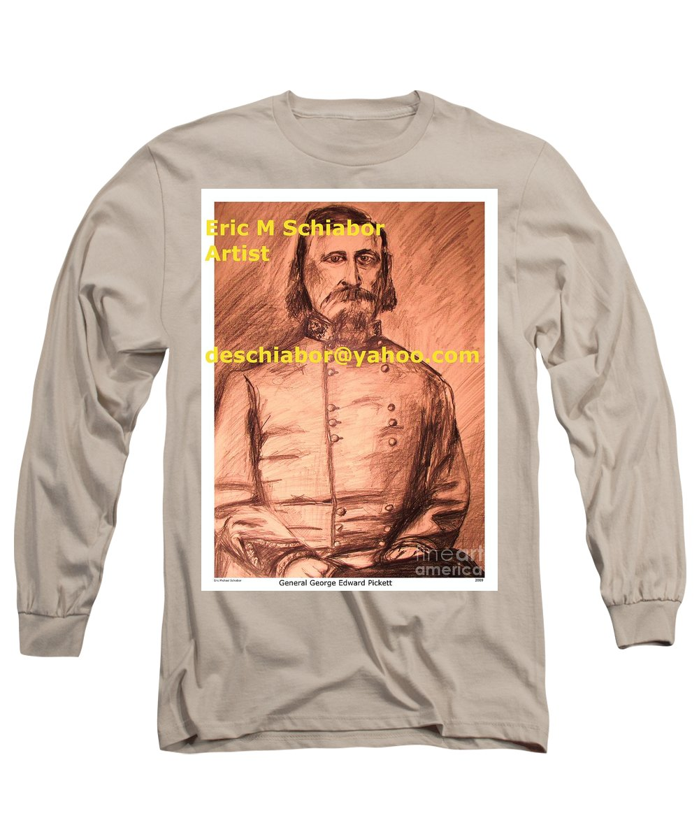 General Pickett Long Sleeve T-Shirt featuring the painting General Pickett Confederate by Eric Schiabor