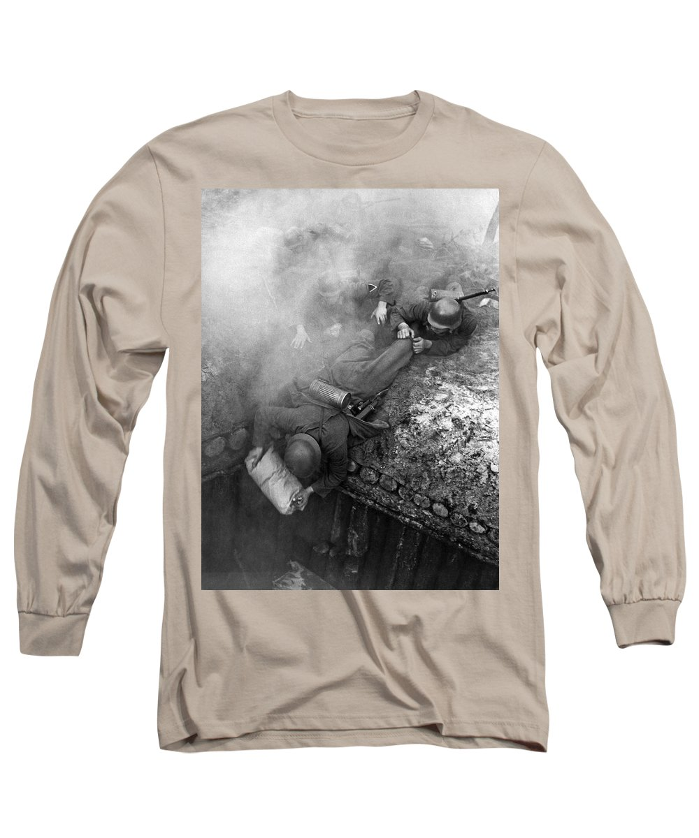 1941 Long Sleeve T-Shirt featuring the photograph German Soldiers Launch A Suprise Attack On Bunker 17. by Underwood Archives