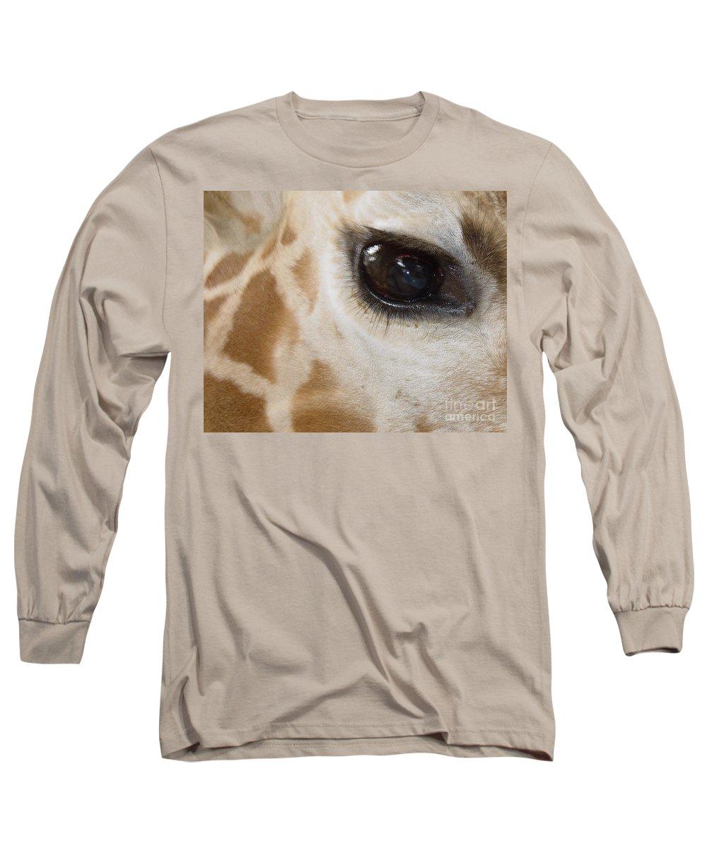 Giraffe Long Sleeve T-Shirt featuring the photograph Giraffe Eye by Heather Coen