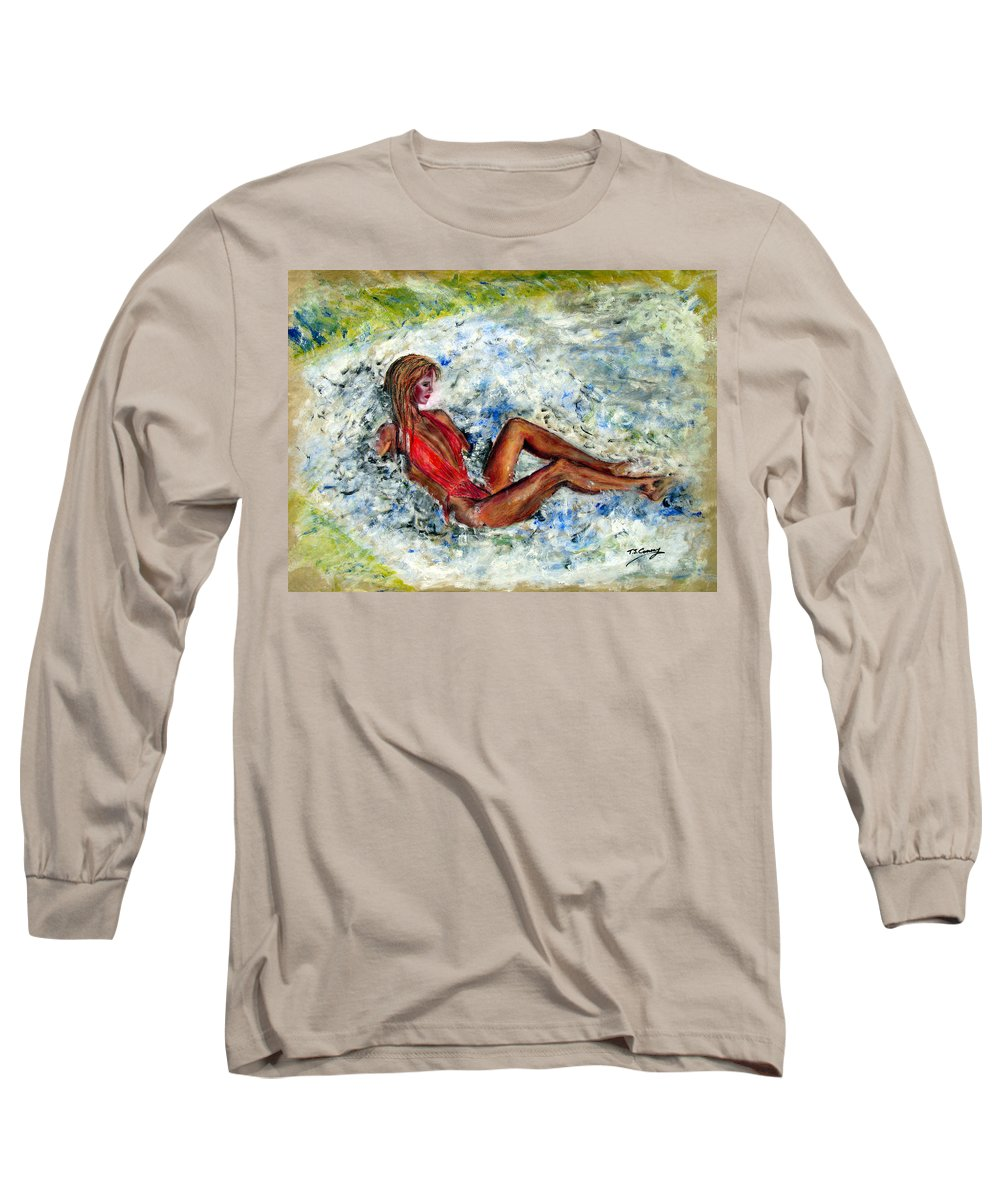 Girl Long Sleeve T-Shirt featuring the painting Girl In A Red Swimsuit by Tom Conway