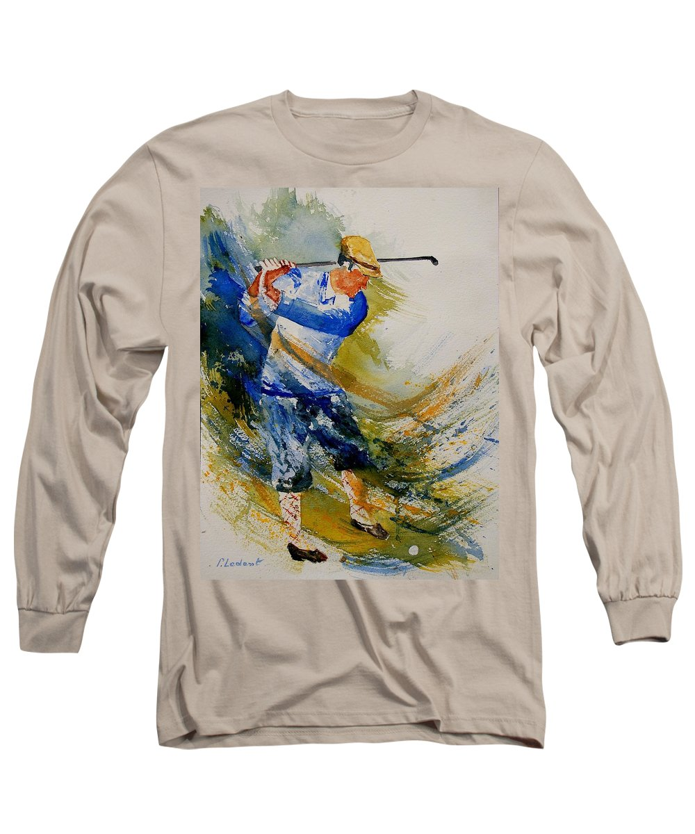Golf Long Sleeve T-Shirt featuring the painting Golf Player by Pol Ledent