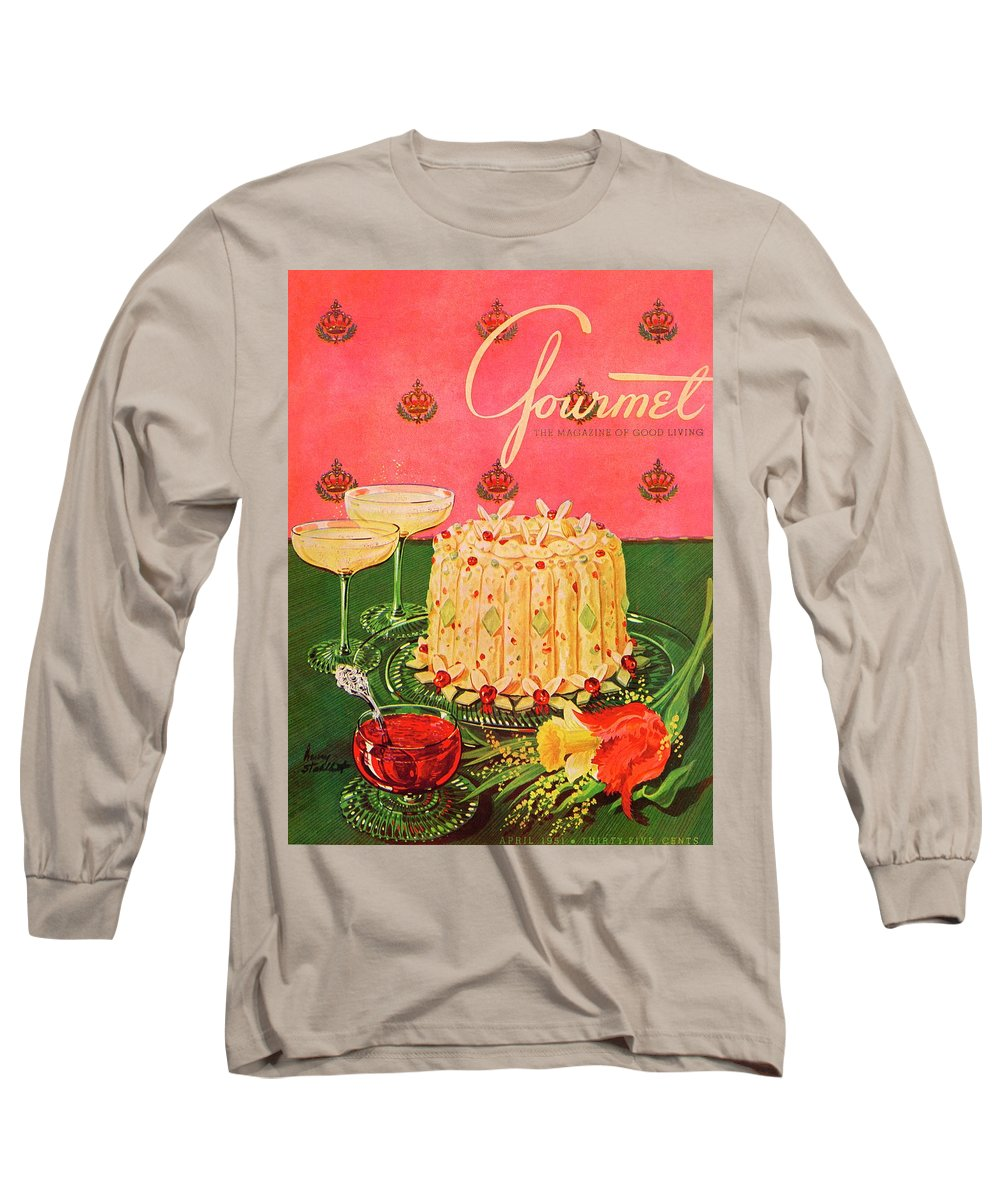 Illustration Long Sleeve T-Shirt featuring the photograph Gourmet Cover Illustration Of A Molded Rice by Henry Stahlhut
