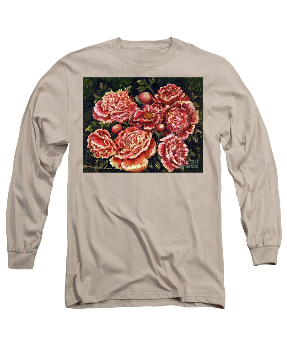 Pink Long Sleeve T-Shirt featuring the painting Grandma Lights Peonies by Linda Simon