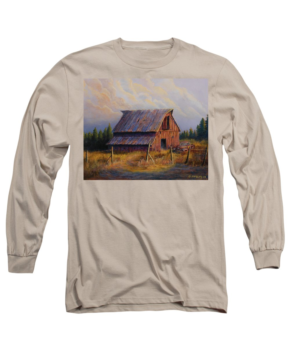Barn Long Sleeve T-Shirt featuring the painting Grandpas Truck by Jerry McElroy