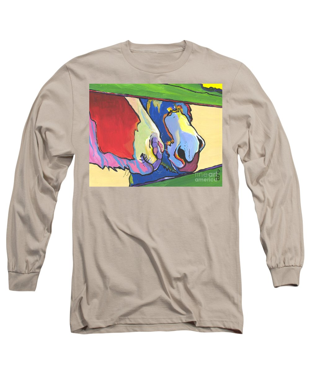 Pat Saunders-white Canvas Prints Long Sleeve T-Shirt featuring the painting Green Fence by Pat Saunders-White