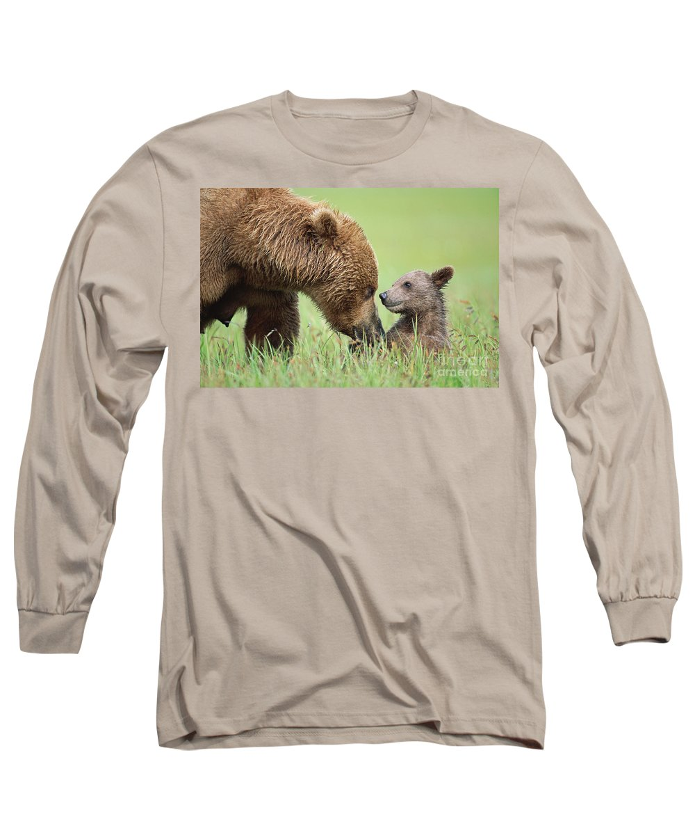 00345260 Long Sleeve T-Shirt featuring the photograph Grizzly Bear And Cub in Katmai by Yva Momatiuk John Eastcott