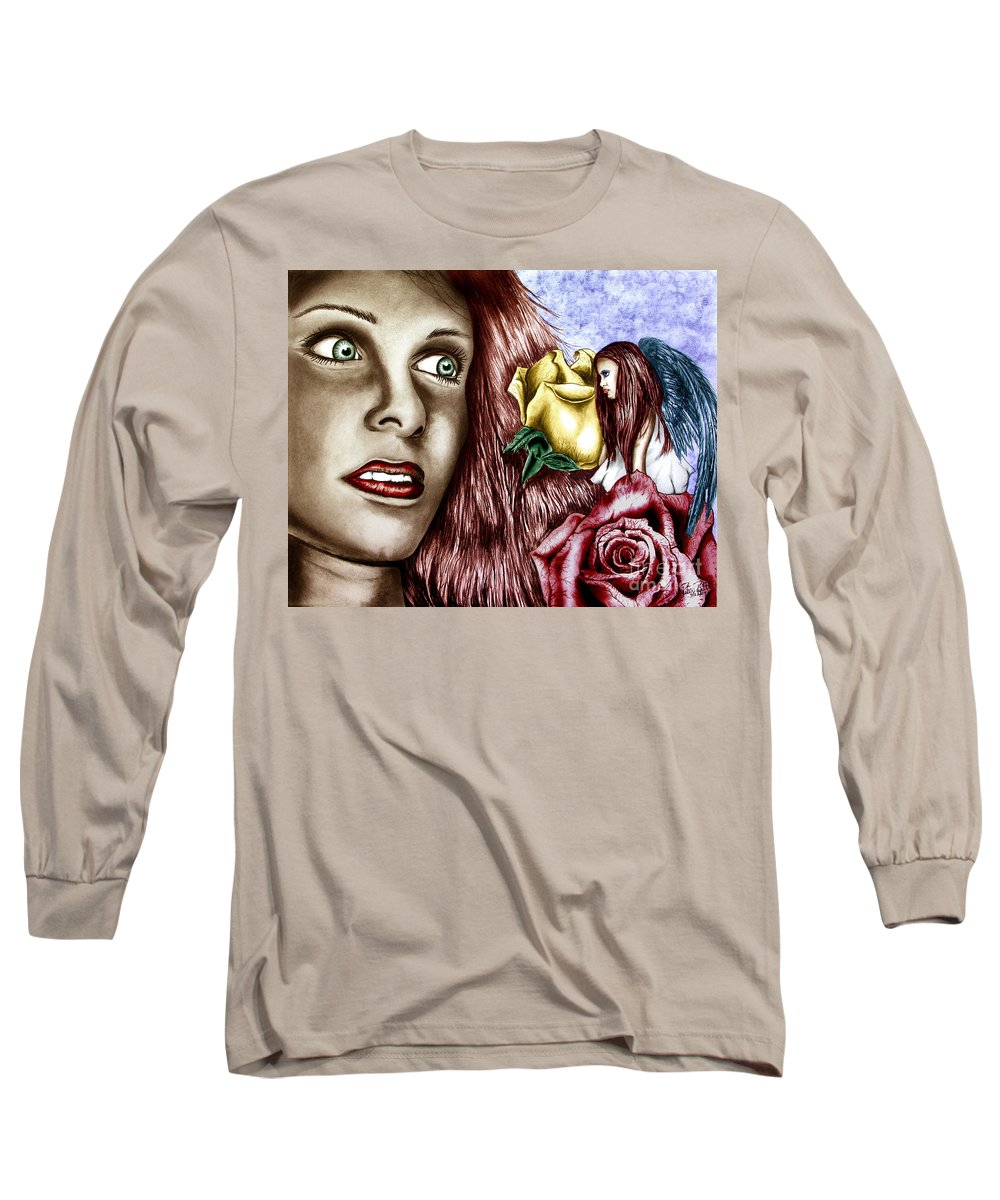 Haleys Apparition Long Sleeve T-Shirt featuring the drawing Haleys Apparition Colored by Peter Piatt