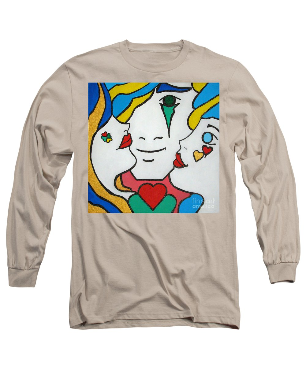 Pop-art Long Sleeve T-Shirt featuring the painting Happy Days by Silvana Abel
