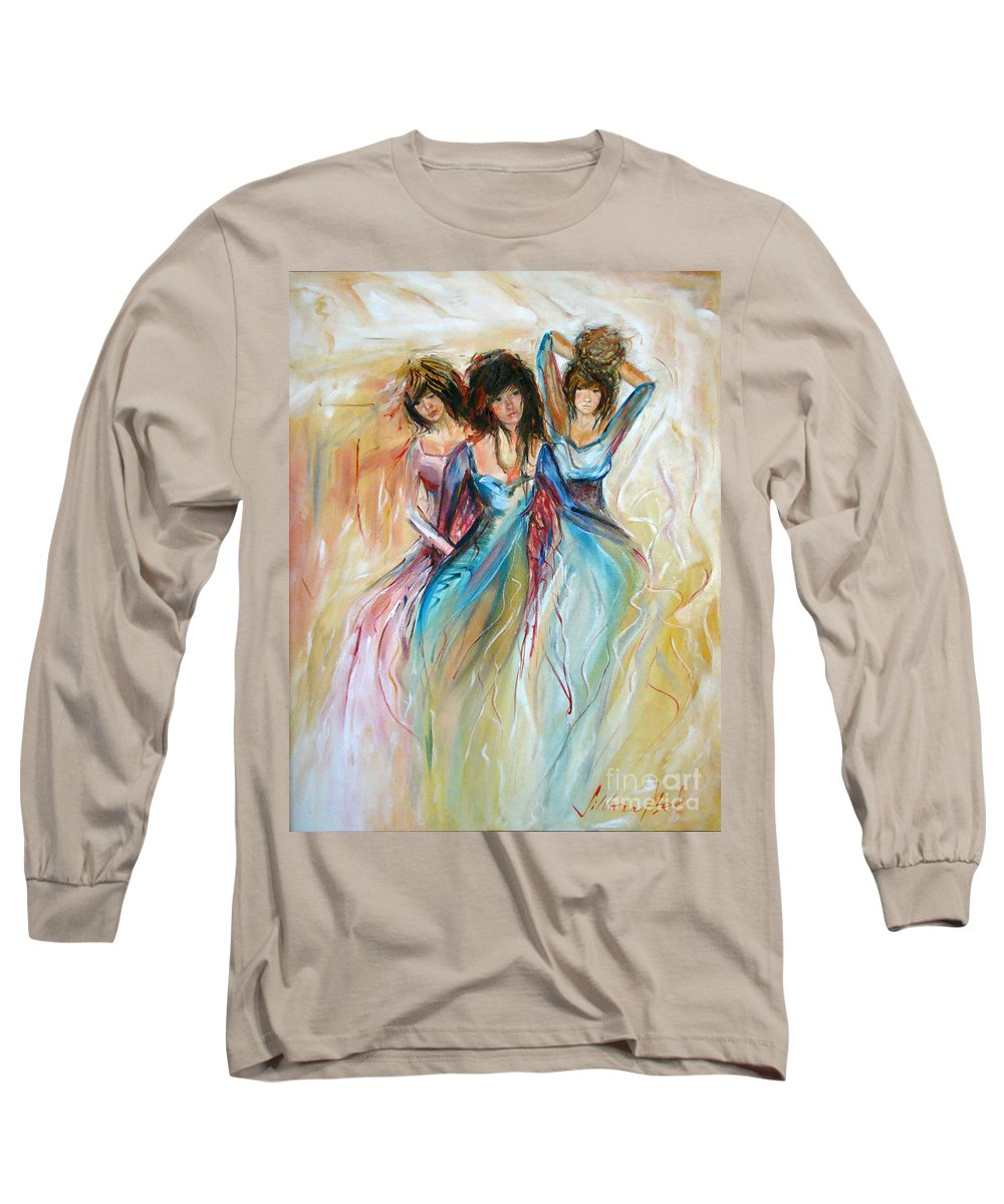 Contemporary Art Long Sleeve T-Shirt featuring the painting Having Fun by Silvana Abel
