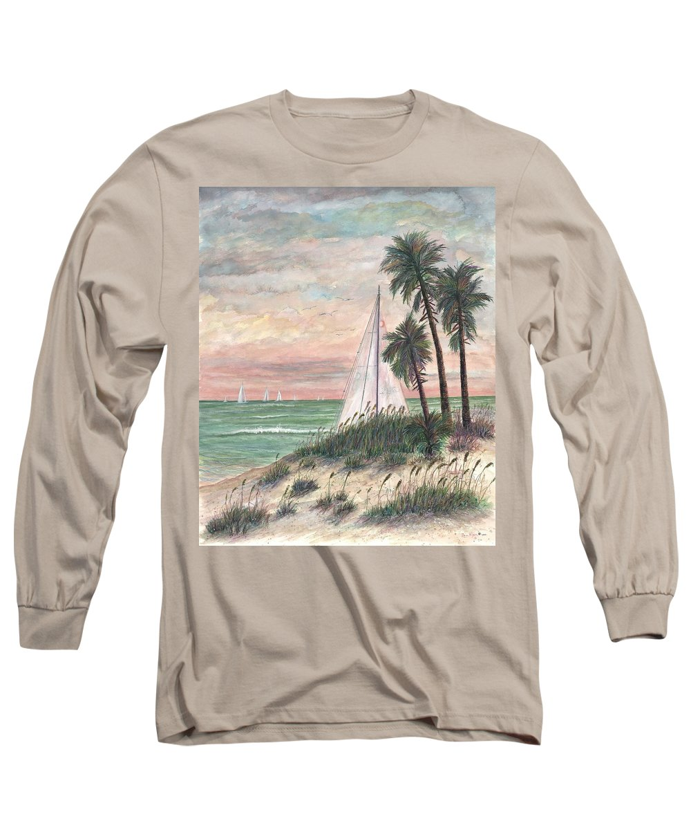 Sailboats; Palm Trees; Ocean; Beach; Sunset Long Sleeve T-Shirt featuring the painting Hideaway by Ben Kiger