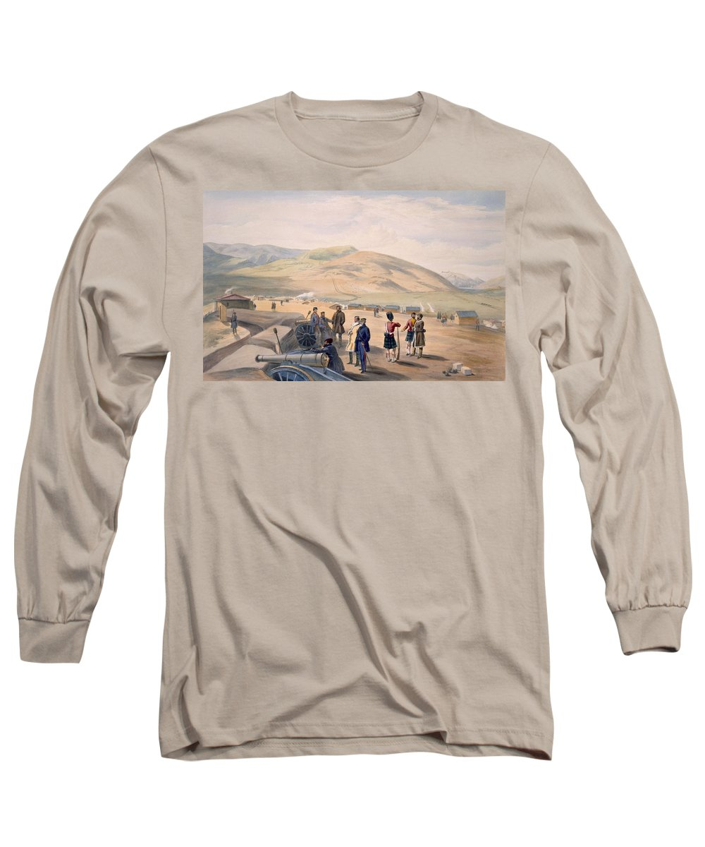 Highlanders Long Sleeve T-Shirt featuring the drawing Highland Brigade Camp, Plate From The by William 'Crimea' Simpson
