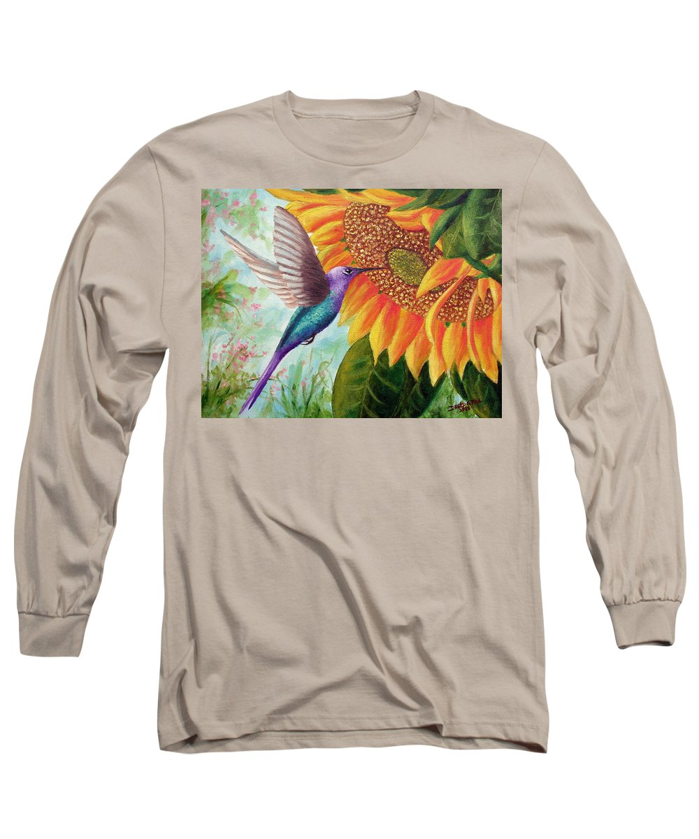 Hummingbird Long Sleeve T-Shirt featuring the painting Humming For Nectar by David G Paul
