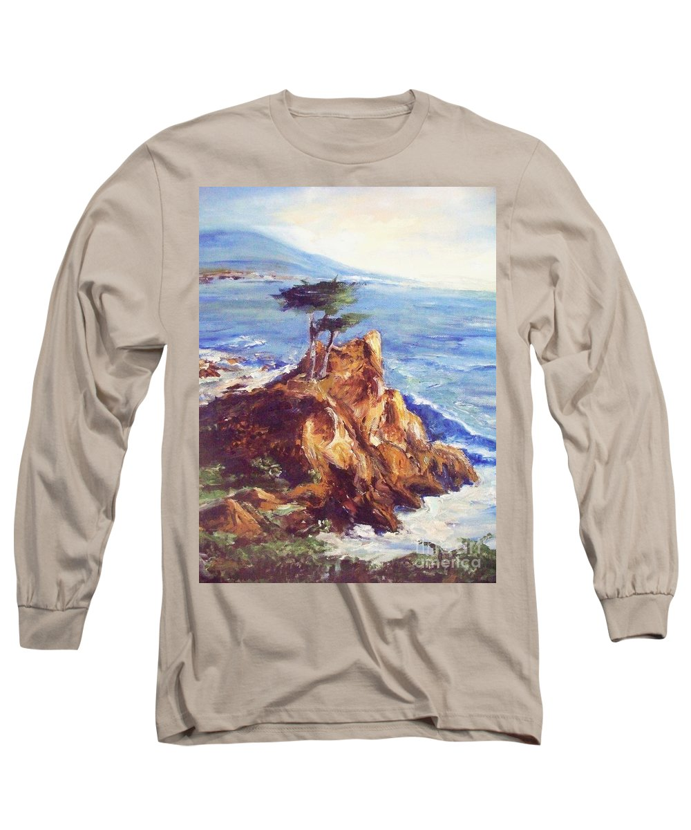 Seascape Long Sleeve T-Shirt featuring the painting Imaginary Cypress by Eric Schiabor