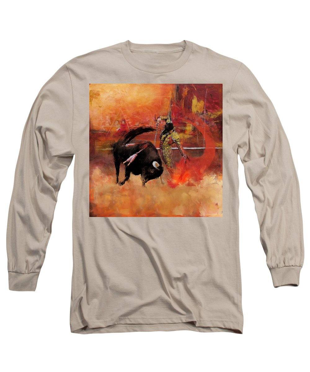 Bullfighting Long Sleeve T-Shirt featuring the painting Impressionistic Bullfighting by Corporate Art Task Force