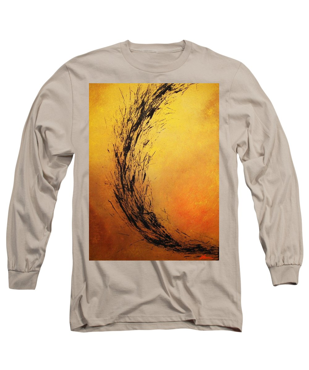 Abstract Long Sleeve T-Shirt featuring the painting Instinct by Todd Hoover