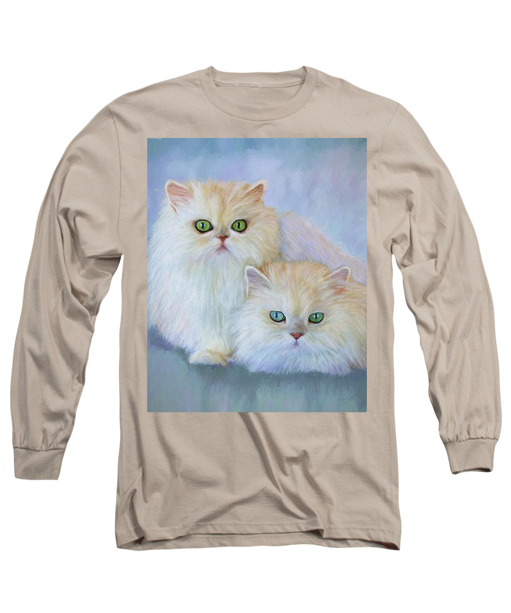 Cat Long Sleeve T-Shirt featuring the painting Katrina And Bjorn by David Wagner