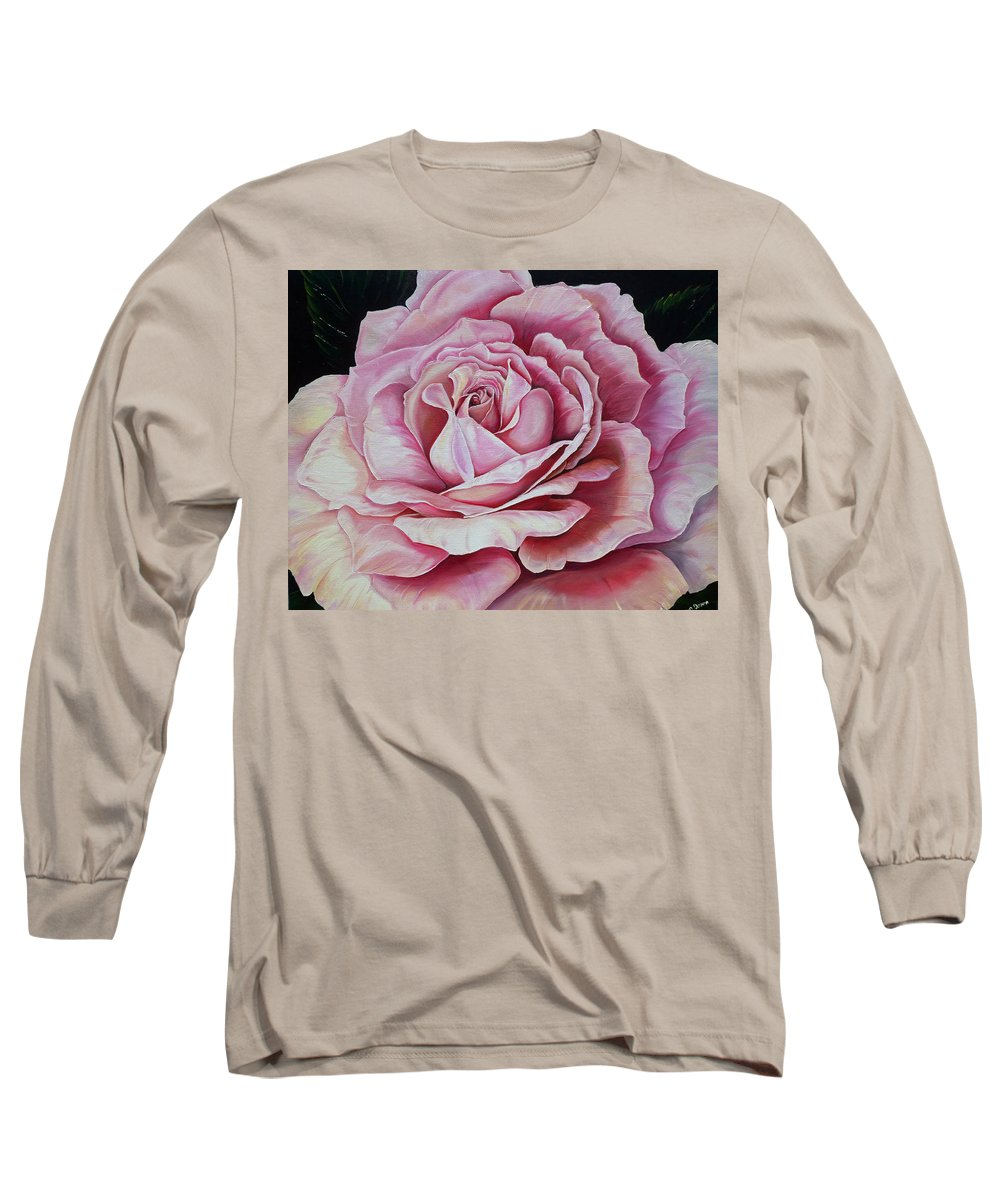 Rose Painting Pink Rose Painting  Floral Painting Flower Painting Botanical Painting Greeting Card Painting Long Sleeve T-Shirt featuring the painting La Bella Rosa by Karin Dawn Kelshall- Best
