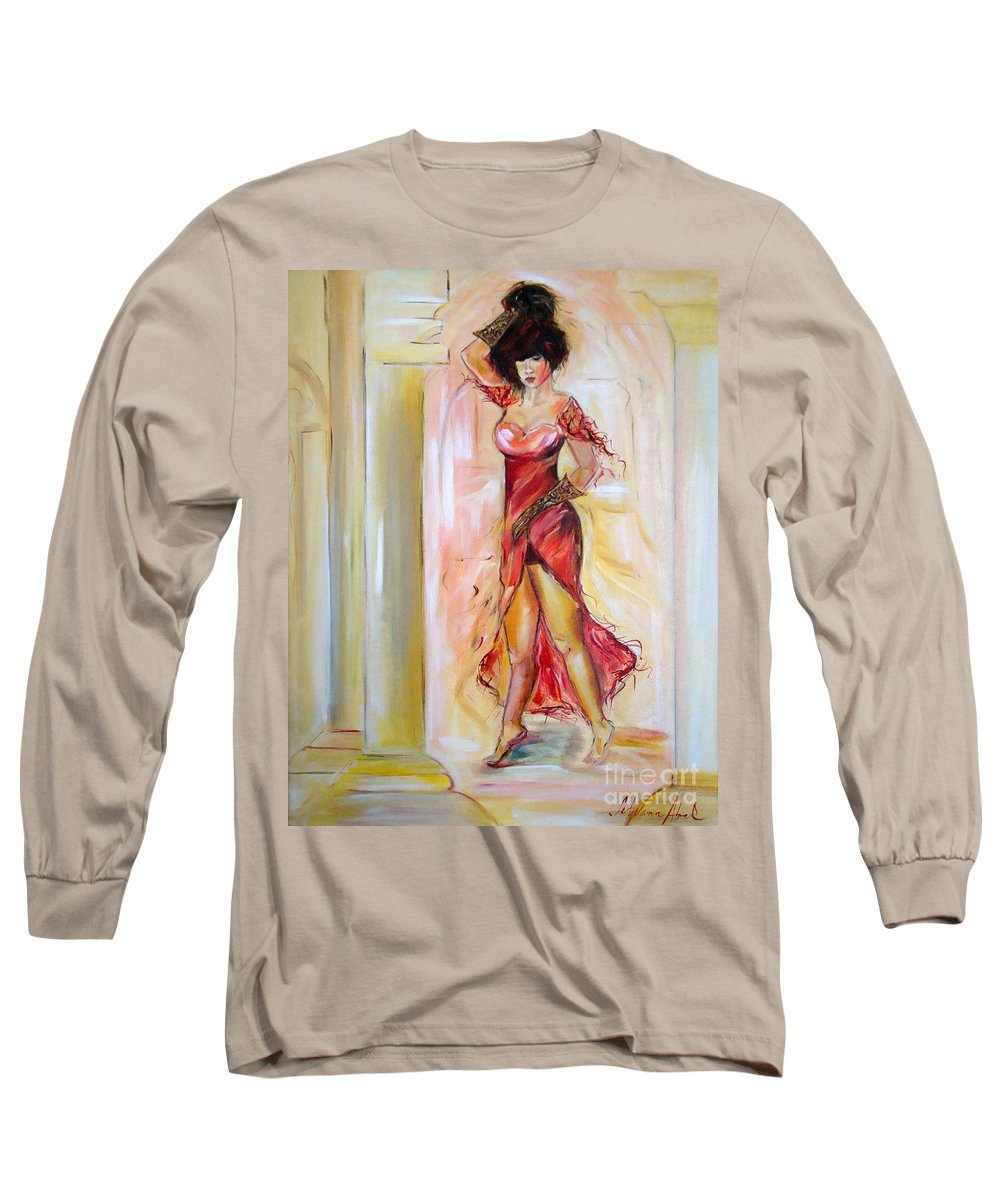 Contemporary Art Long Sleeve T-Shirt featuring the painting Lady In Red by Silvana Abel