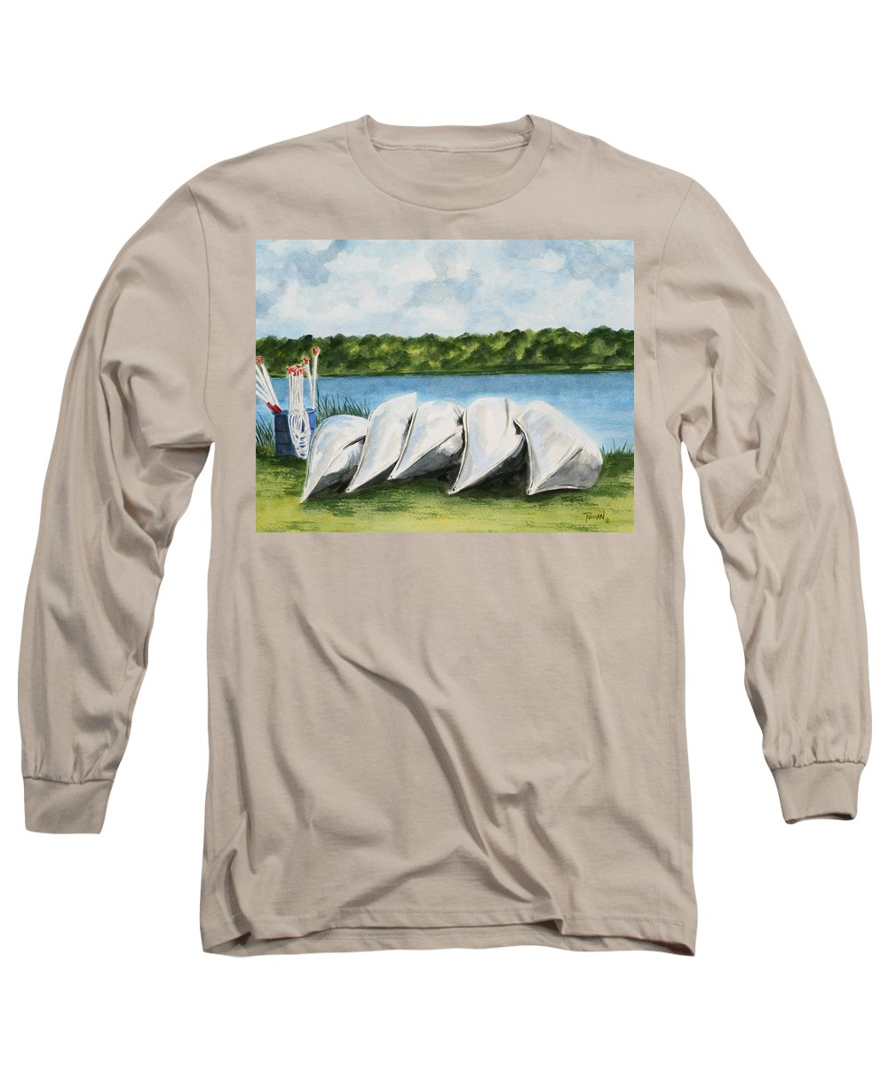 Canoes Long Sleeve T-Shirt featuring the painting Lazy River by Regan J Smith