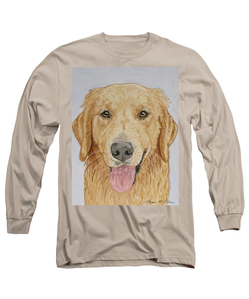 Golden Retriever Long Sleeve T-Shirt featuring the painting Let's Play by Megan Cohen