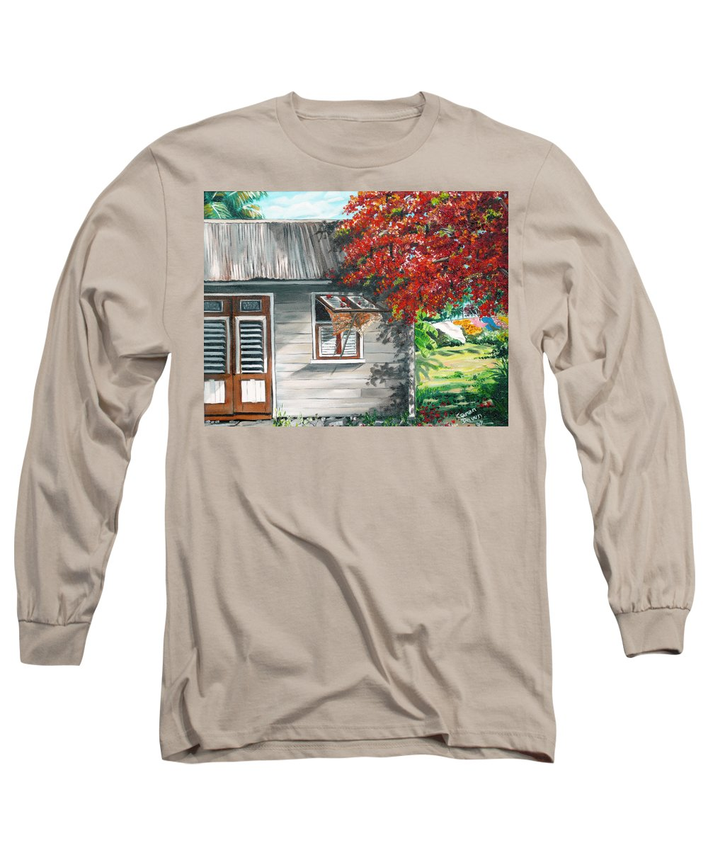Caribbean Painting Typical Country House In The Caribbean Or West Indian Islands With Flamboyant Tree Tropical Painting Long Sleeve T-Shirt featuring the painting Little West Indian House 1 by Karin Dawn Kelshall- Best