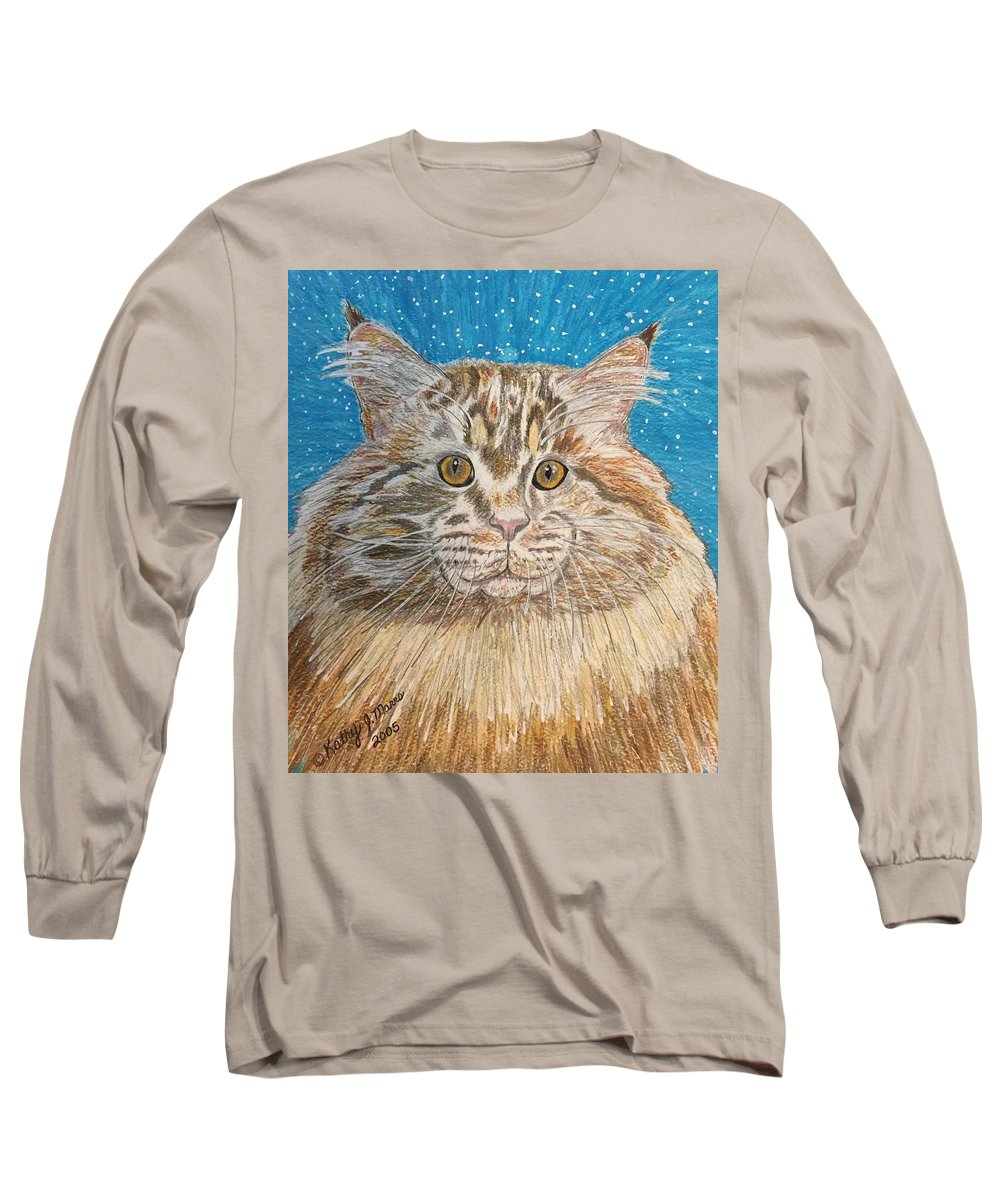 Maine Long Sleeve T-Shirt featuring the painting Maine Coon Cat by Kathy Marrs Chandler