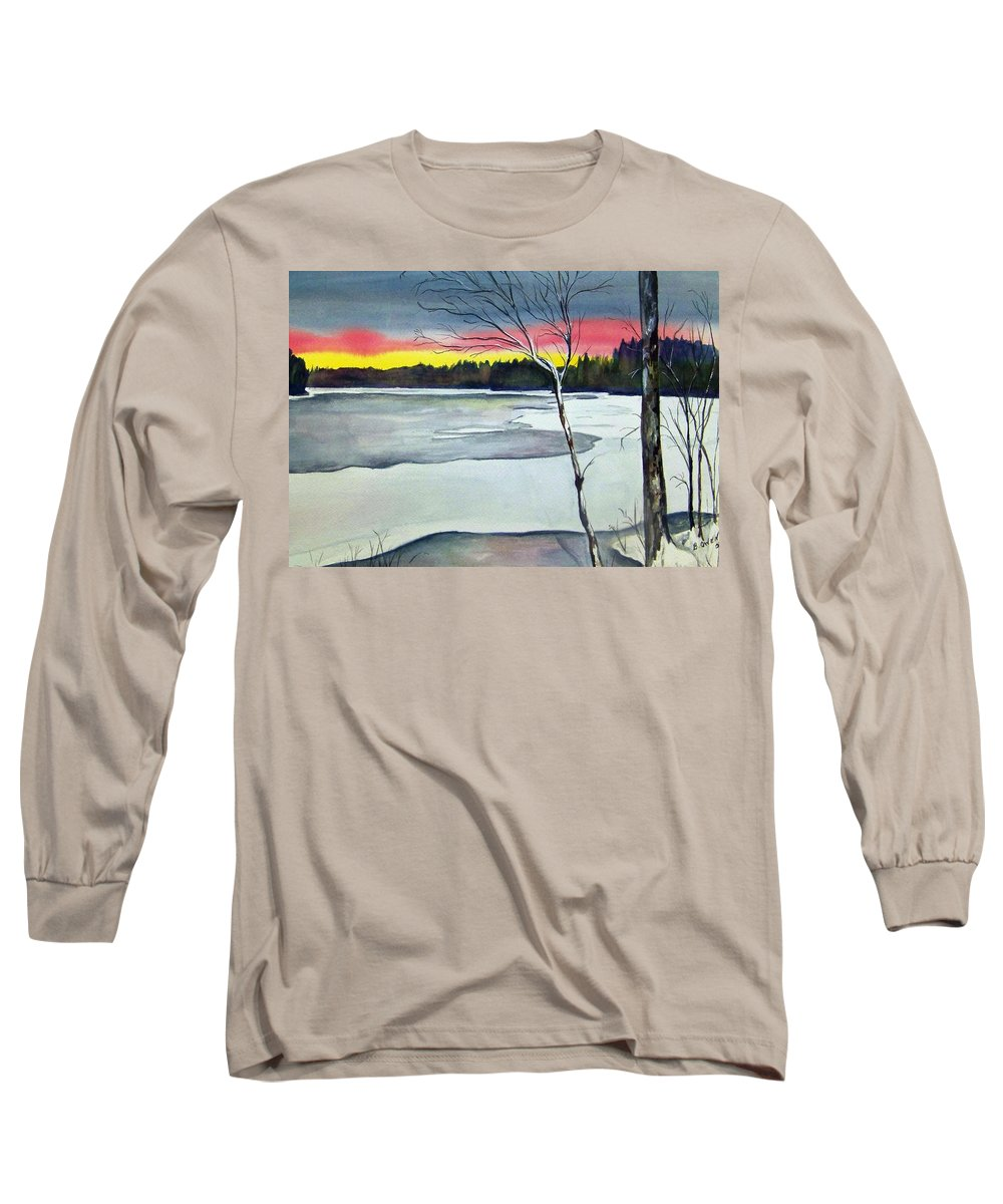 Landscape Long Sleeve T-Shirt featuring the painting Maine Winter Sunset by Brenda Owen