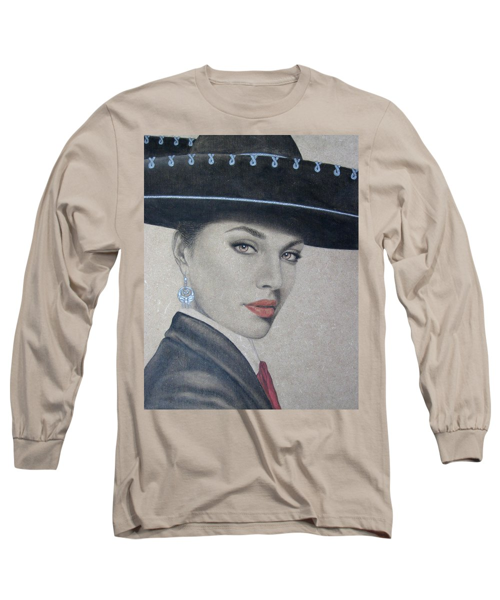 Mariachi Long Sleeve T-Shirt featuring the painting Mariachi by Lynet McDonald