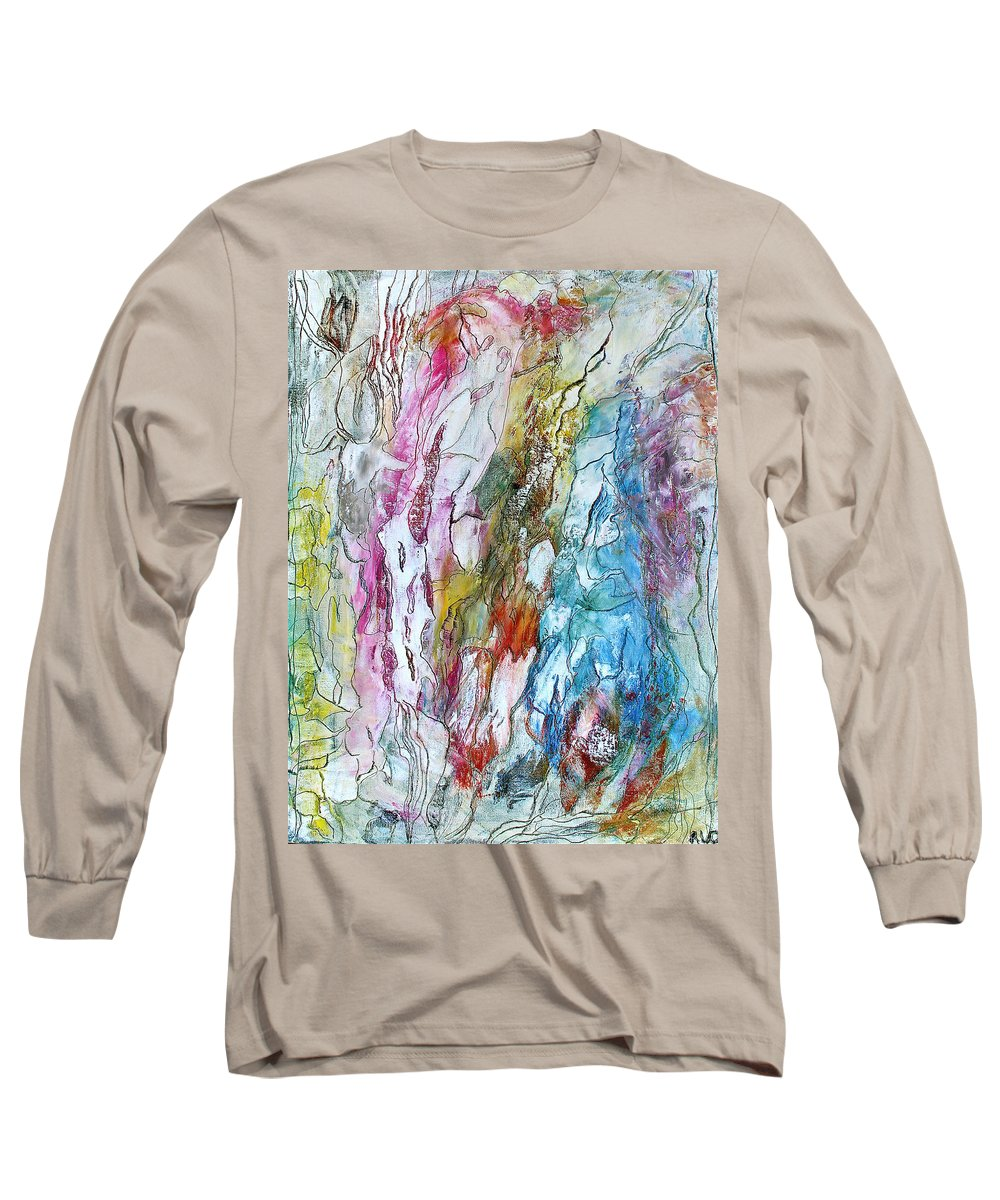 Mixed Media Long Sleeve T-Shirt featuring the painting Monet's Garden by Bellesouth Studio