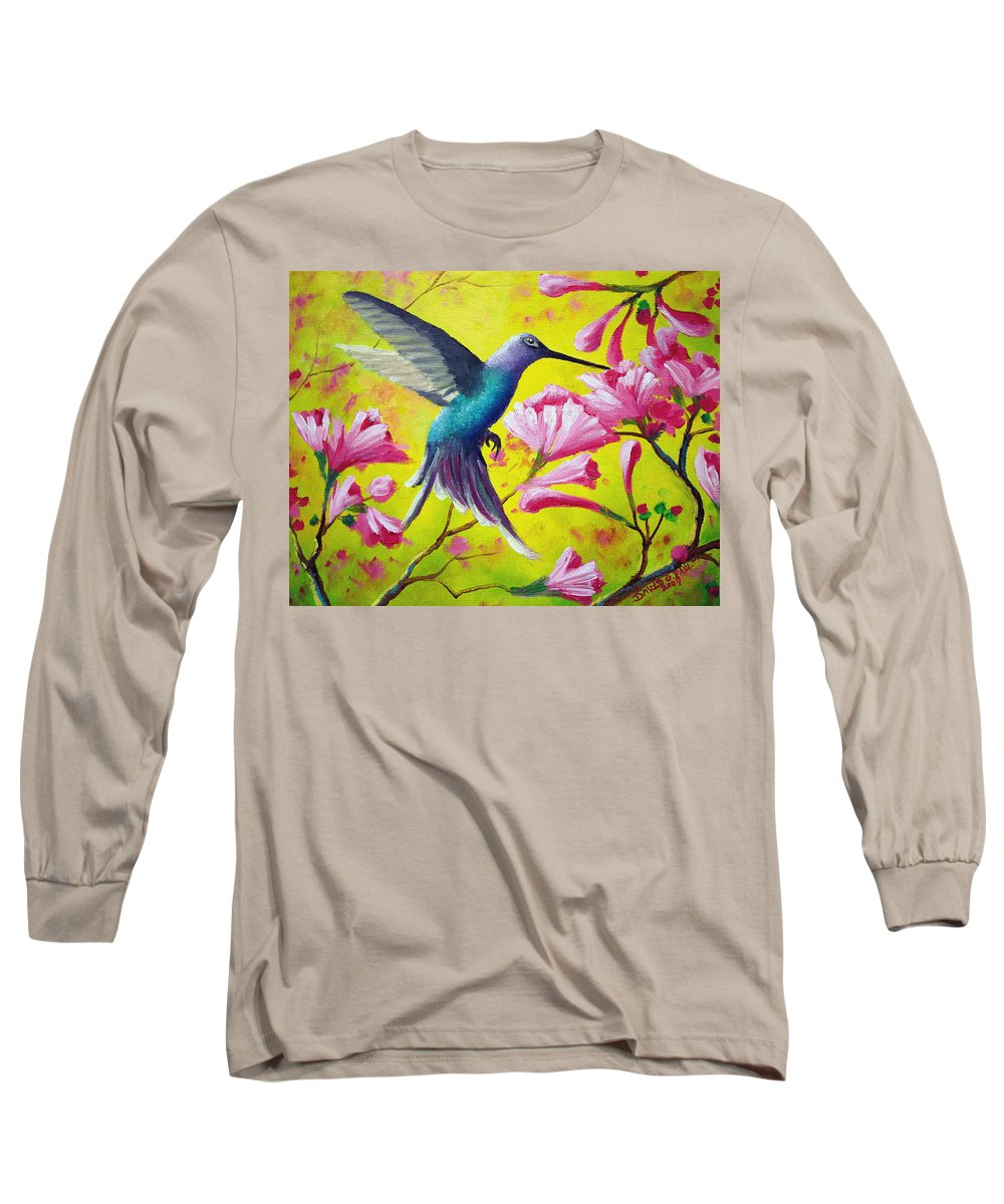 Hummingbird Long Sleeve T-Shirt featuring the painting Morning Sweets by David G Paul