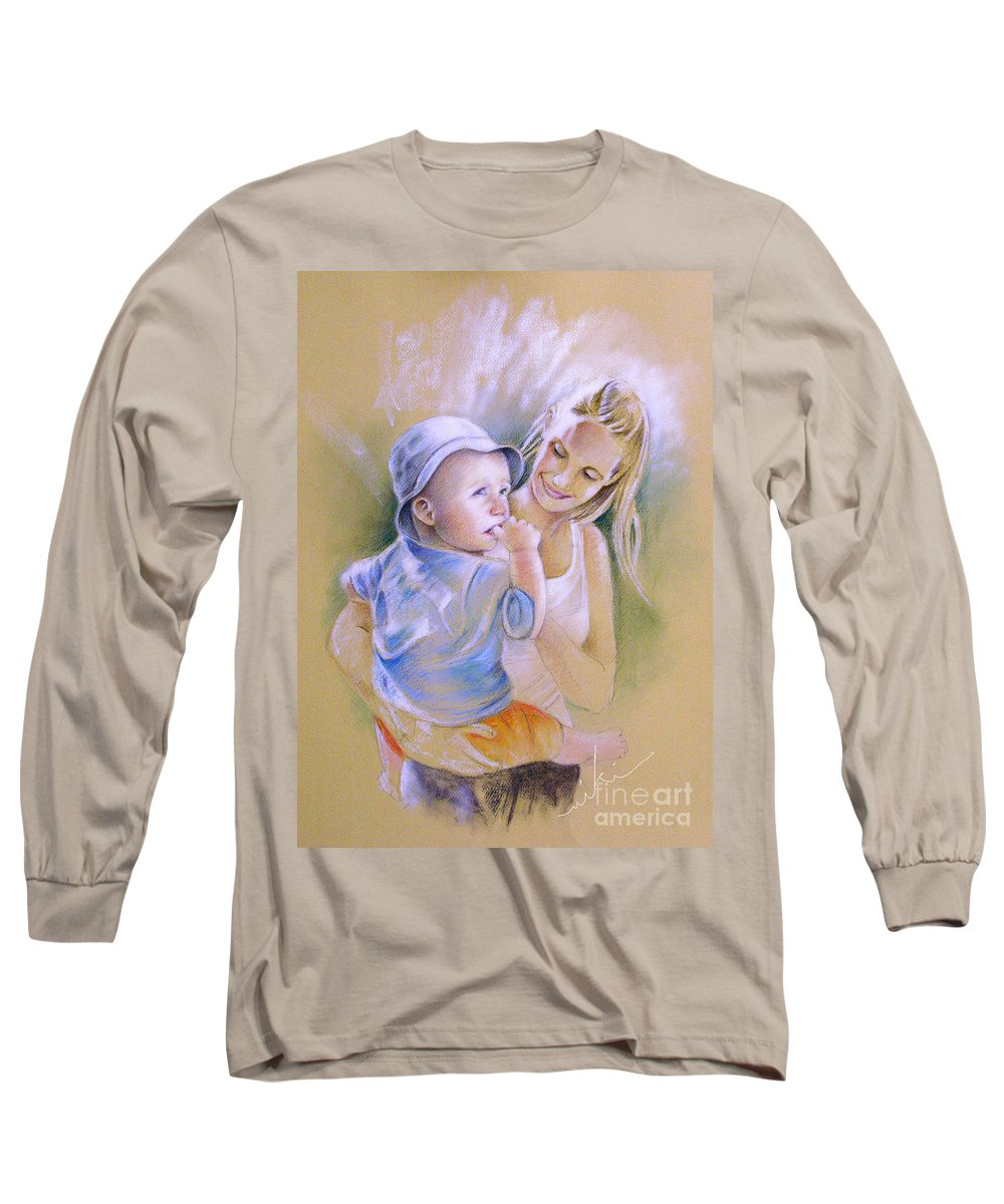 Portrait Long Sleeve T-Shirt featuring the painting Mother And Son by Miki De Goodaboom