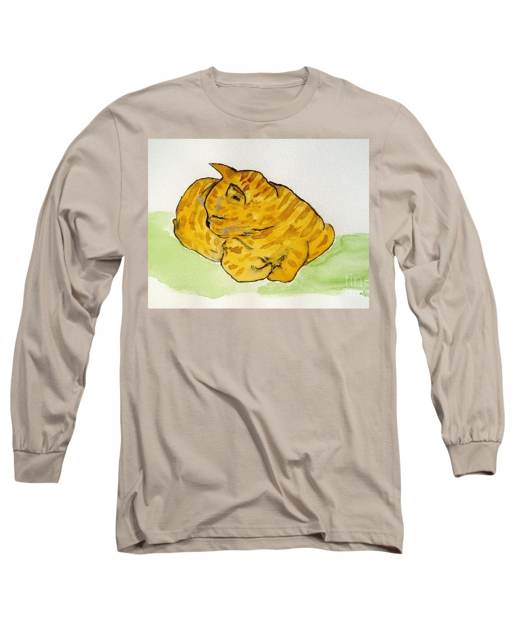 Cat Painting Long Sleeve T-Shirt featuring the painting Mr. Yellow by Reina Resto