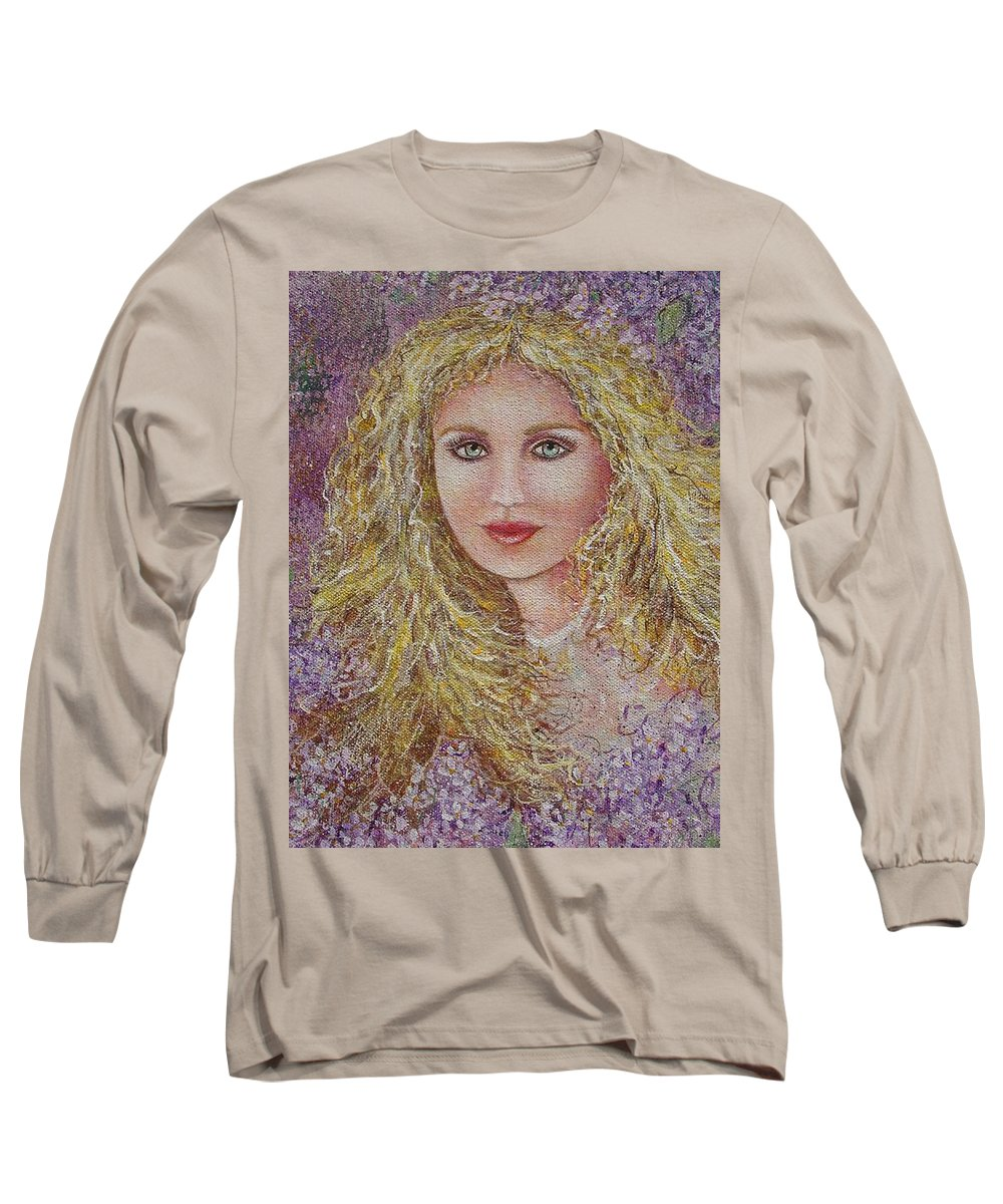 Portrait Long Sleeve T-Shirt featuring the painting Natalie In Lilacs by Natalie Holland