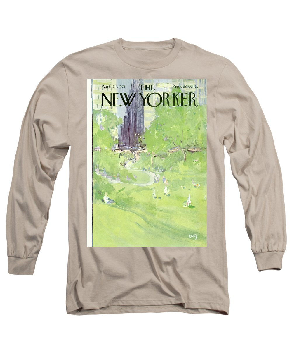 Urban Long Sleeve T-Shirt featuring the painting New Yorker April 24th, 1971 by Arthur Getz