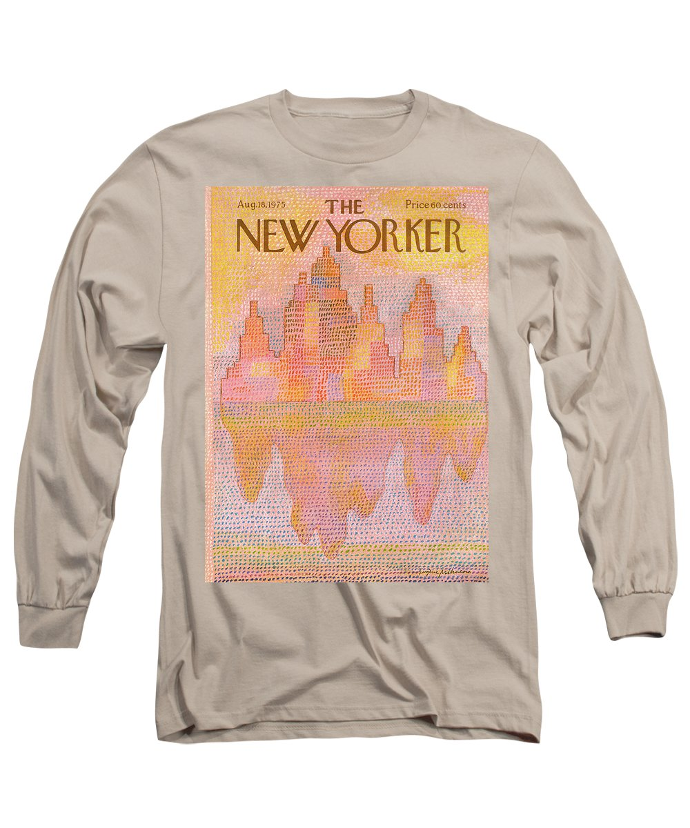Heat Long Sleeve T-Shirt featuring the painting New Yorker August 18th, 1975 by Eugene Mihaesco