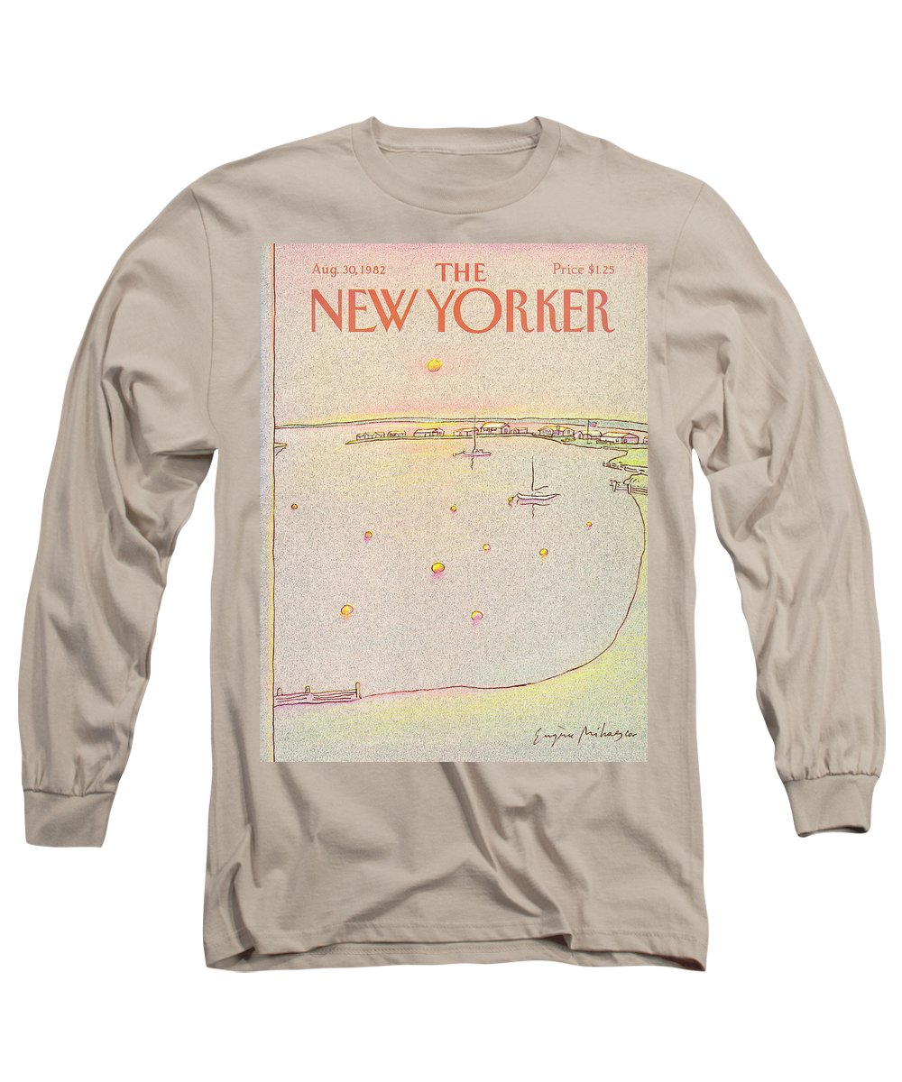 Summer Long Sleeve T-Shirt featuring the painting New Yorker August 30th, 1982 by Eugene Mihaesco