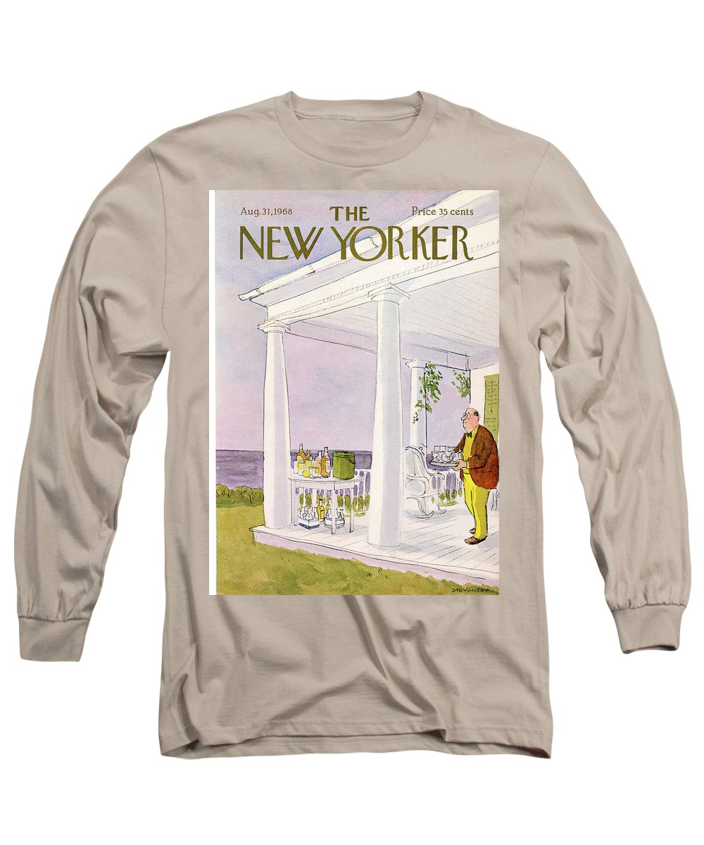 James Stevenson Jst Long Sleeve T-Shirt featuring the painting New Yorker August 31st, 1968 by James Stevenson