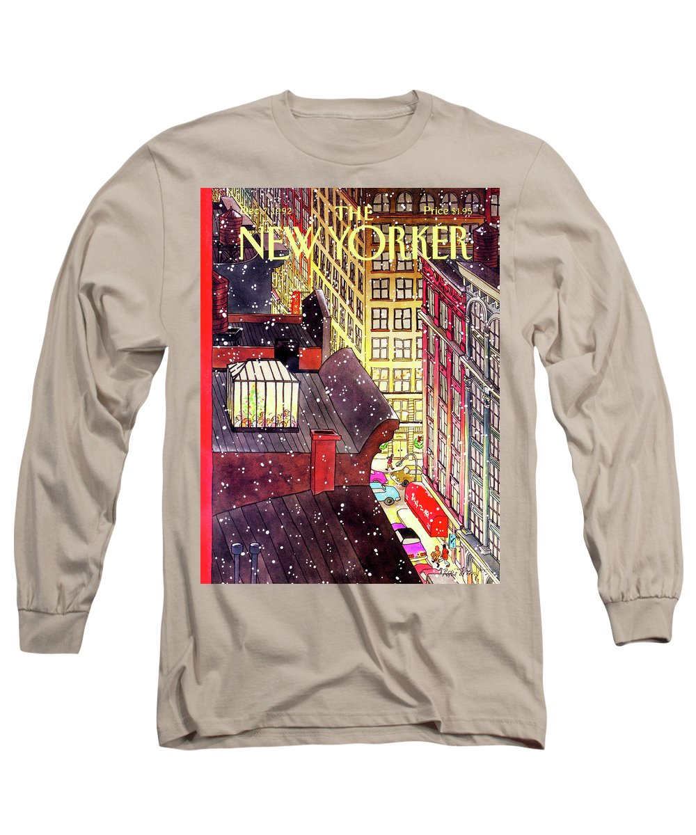A Birds-eye View Of A Busy Shopping Evening Downtown. Snow Begins To Fall On The Rooftops Where One Sunroof Is Illuminated By A Crowd Gathered Around A Christmas Tree. Long Sleeve T-Shirt featuring the painting New Yorker December 7th, 1992 by Roxie Munro