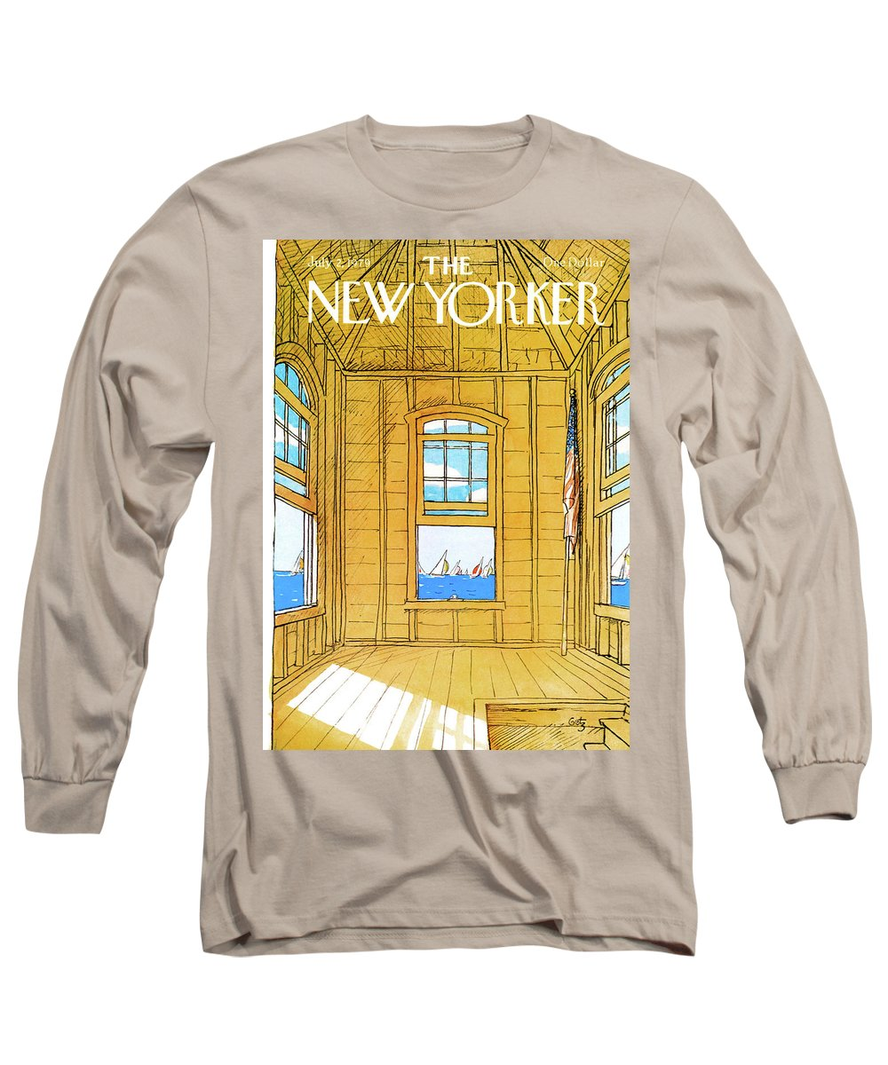 Leisure Long Sleeve T-Shirt featuring the painting New Yorker July 2nd, 1979 by Arthur Getz