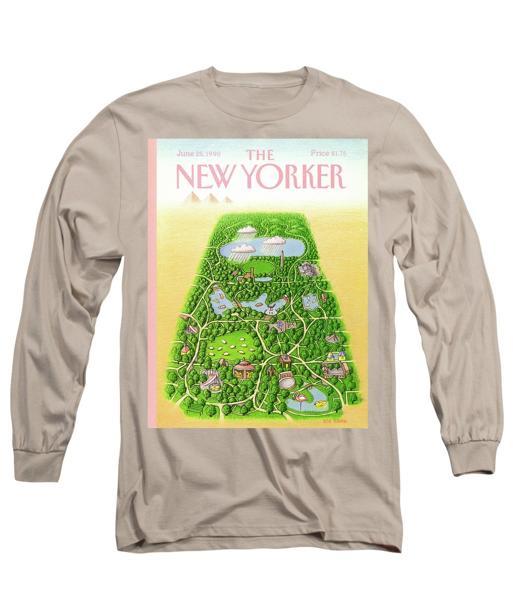 New York City Long Sleeve T-Shirt featuring the painting New Yorker June 25th, 1990 by Bob Knox