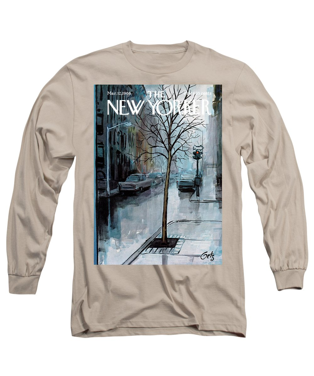 Rain Long Sleeve T-Shirt featuring the painting New Yorker March 12th, 1966 by Arthur Getz