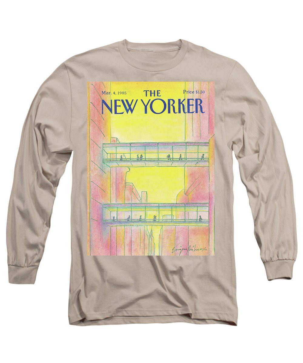 Manhattan Long Sleeve T-Shirt featuring the painting New Yorker March 4th, 1985 by Eugene Mihaesco