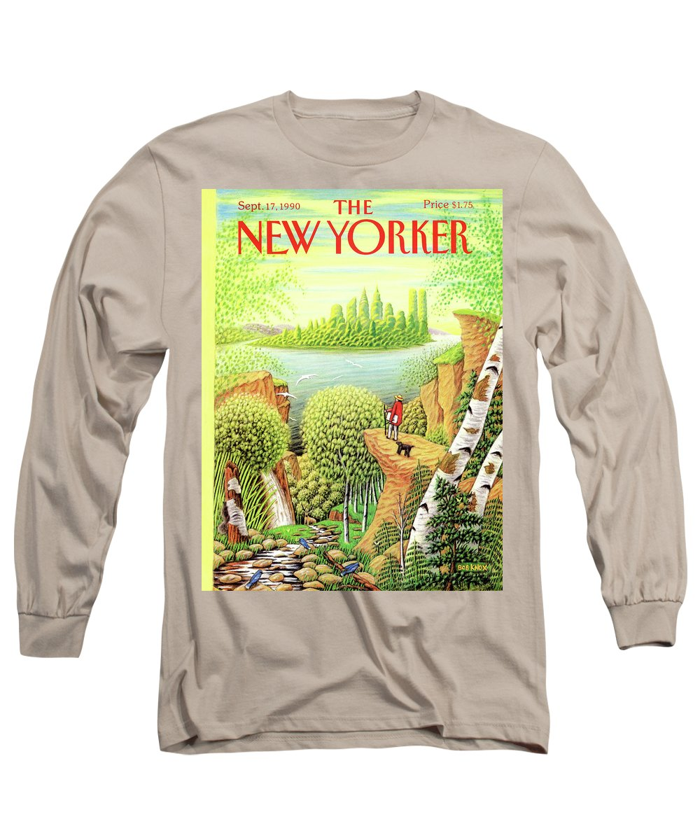 (a Man And His Dog Hike Through A Vast Landscape Of Woods Long Sleeve T-Shirt featuring the painting Green New York by Bob Knox