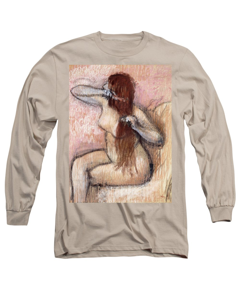 1880s Long Sleeve T-Shirt featuring the painting Nude Seated Woman Arranging Her Hair Femme Nu Assise Se Coiffant by Edgar Degas