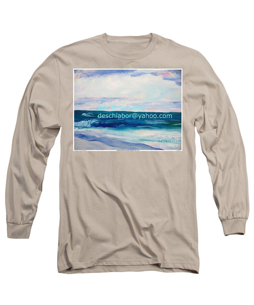 Floral Long Sleeve T-Shirt featuring the painting Ocean Assateague Virginia by Eric Schiabor