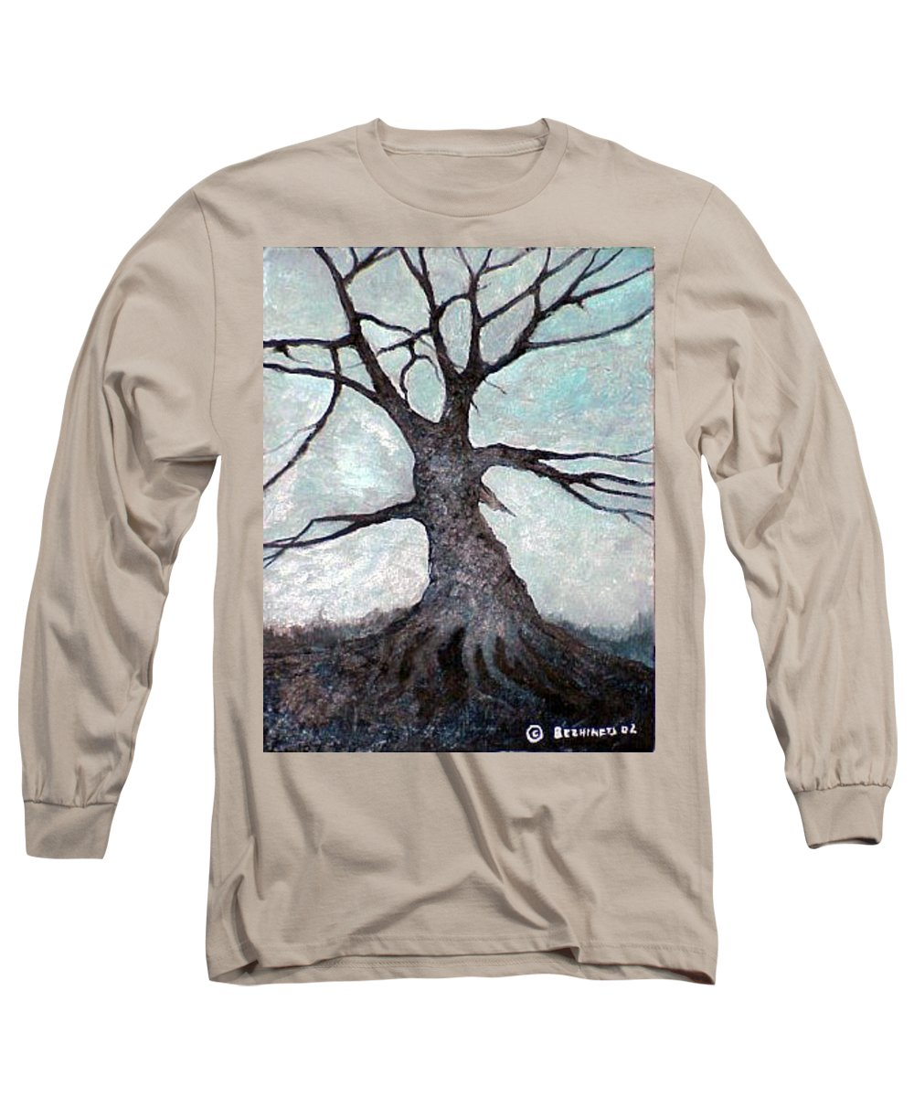 Landscape Long Sleeve T-Shirt featuring the painting Old Tree by Sergey Bezhinets