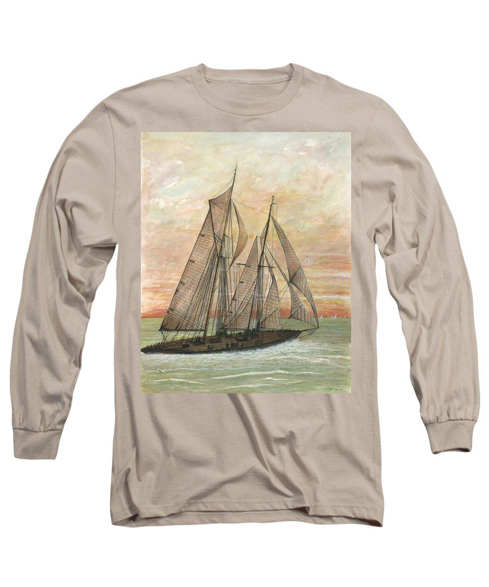 Sailboat; Ocean; Sunset Long Sleeve T-Shirt featuring the painting Out To Sea by Ben Kiger