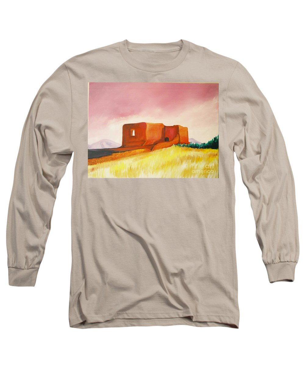 Western Landscapes Long Sleeve T-Shirt featuring the painting Pecos Mission Nm by Eric Schiabor